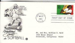 1995, Recreational Sports-Softball, Artcraft/PCS, FDC (E8157)