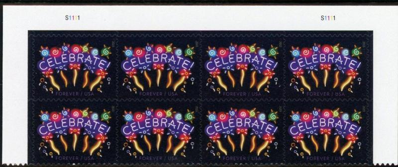 US  5019  Neon Celebrate 49c - Top Plate Block of 8 - MNH - 2015 YD - S1111