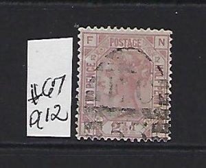 GREAT BRITAIN SCOTT #67 (PLATE 12) 1875 2 1/2 (CLARET) ) - WMK 29 - USED