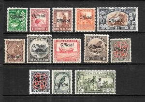 NEW ZEALAND  1936-42  PICTORIAL  OFFICIALS SET 13  MNH/MLH