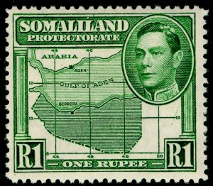 SOMALILAND PROTECTORATE SG101, 1r green, LH MINT. Cat £15.