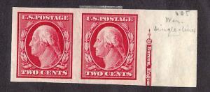 384 Mint,OG,HR... Pair w/Partial Imprint... SCV $11.00