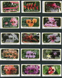 COOK ISLANDS #O70 -87 Single Set of 18 Stamps - O.H.M.S. FLOWERS - 25