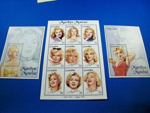GAMBIA  -  SCOTT # 1601-1603  -   MARILYN MONROE S/S & MINI SHEET    MNH (ww106)
