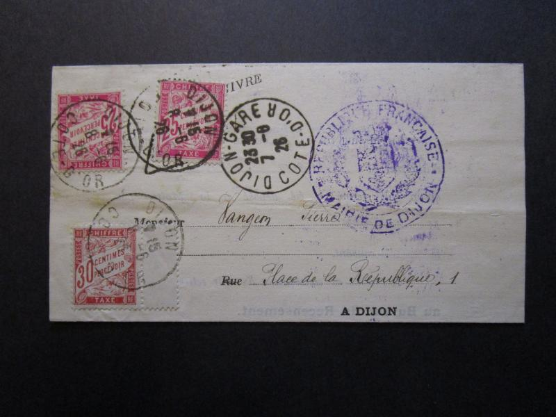 France 1926 Official Letter to Dijon w/ 3 Dues (Sm Paper Thins From Seal) -Z7058