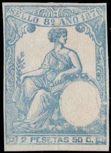 ESPAGNE / SPAIN / ESPAÑA Fiscales 1876 - Póliza Sello 8° 2.50 Pts Efigie en seco