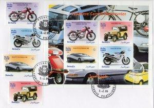 Somalia 1999 Japanese Cars & Motorcycles Set (4) + Sheetlet  Perforated FDC