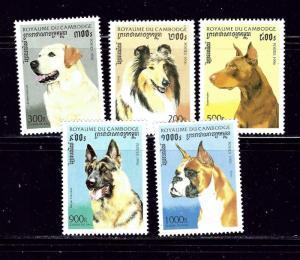 Cambodia 1564-68 MNH 1996 Dogs