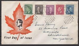 CANADA 1949 GVI definitives commem FDC Saskatoon to New Zealand............27545