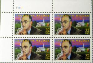 3134 Thornton Wilder Plate Block Mint/nh (Free Shipping)