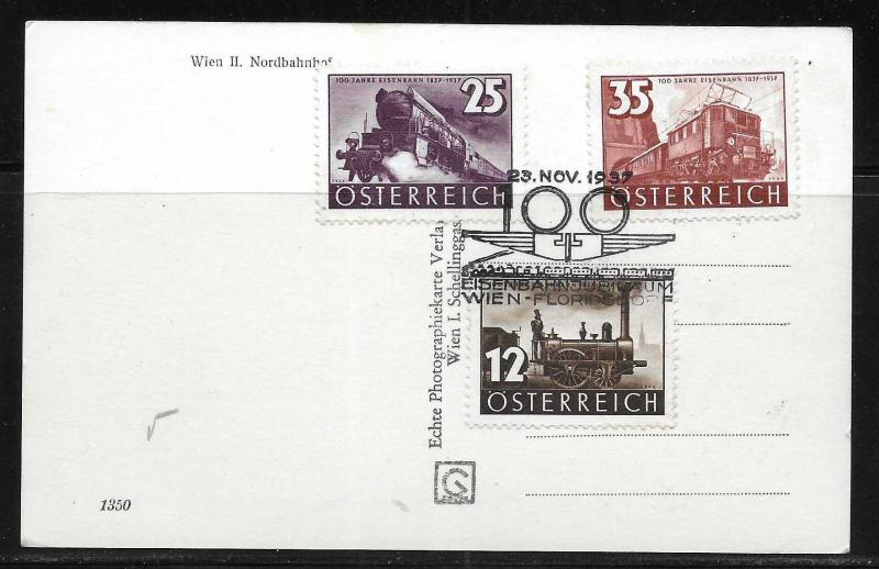 Austria 385-7 100th Railways Commemorative cancel 11/23/37