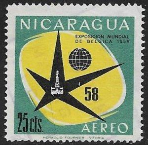 NICARAGUA 1958 25c WORLD'S FAIR BRUSSELS Airmail Sc C404 VFU