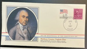 US #808,2115 Used on Cover - Bicentennial of the Constitution 1787-1987 [BIC3]