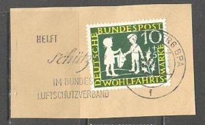 GERMANY BUND Sc# B369 USED FVF on Piece Girl Coat Boy