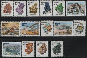 NAMIBIA, 674-689, MNH, SET(15), 1991, MINERALS, CONSTRUCTION SITES