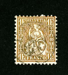 Switzerland Stamps # 50a F-VF Rare Used Scott Value $550.00