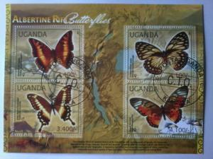 UGANDA SHEET USED BUTTERFLIES INSECTS ALBERTINE RIFT
