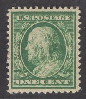 US Stamp #331 One Cent Green Franklin MINT HINGED SCV $6.50