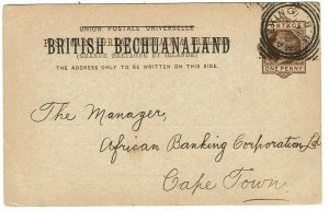 Bechuanaland 1894 Mafeking squared circle cancel on 1d postal card to Cape Town