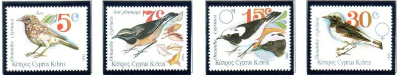 Cyprus Sc 781-4 1991 birds stamp set mint NH