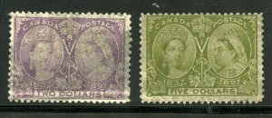 CANADA  JUBILEES  SCOTT# 62 & 65 USED  SMUDGED CANCELLATIONS --SCOTT $1700.00
