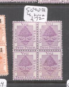 Orange Free State SG 40 Block of Four 2 MNH (3dgr)