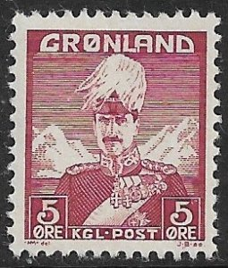 GREENLAND 1938-46 2o King Christian X Scott No. 2 MNH