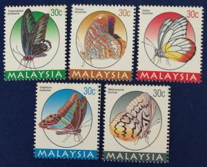 Malaysia Scott # 590-4 Butterflies Stamps Set MNH