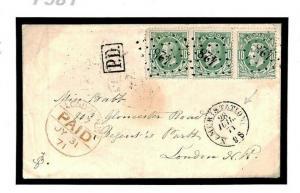 F581 BELGIUM Namur Railway Station '428' Numerals 1871 Cover