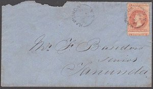 SOUTH AUSTRALIA 1868 2d roulette on cover Kapunda to Tanunda...............A139