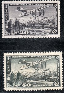 MEXICO C26-C27, AVIATION WEEK, 20¢ IS MINT, NH, 40¢ UNUSED, VLH, OG. VF.