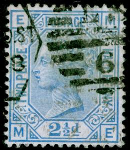 SG142, 2½d blue PLATE 20, USED. Cat £55. ME