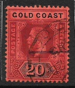 GOLD COAST SG84 1913 20/= PURPLE & BLACK ON RED USED