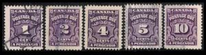 CANADA POSTAGE DUE 1933 #J15/J20 SET OF 5 FINE USED TAX STAMP