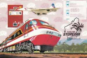 MXC87) 1988, Australia, Plane, Train, Echidna background, maximum card