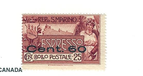 San Marino, E3, Special Delivery Surcharged Single, LH