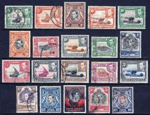 KUT — SCOTT 66-85 (131-150a) —1938-54 KGVI PICTORIAL SET — USED — SCV $61.75