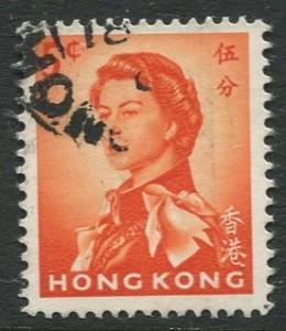 Hong Kong - Scott 203 - QEII - Definitive - 1962 - FU - Single 5c Stamp