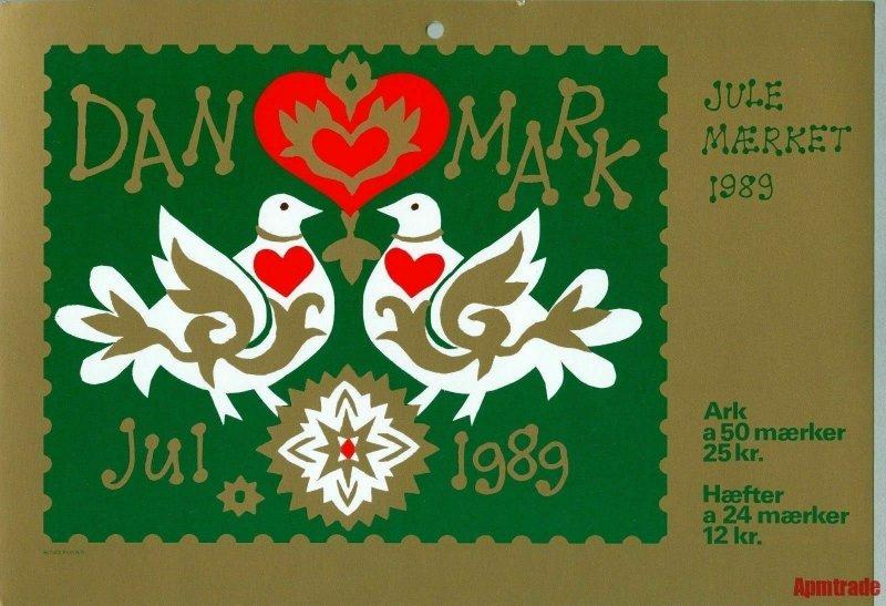 Denmark. Christmas Seal. 1989.1 Post Office,Display,Advertising Sign. Bird,Heart