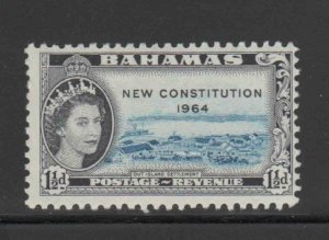 BAHAMAS #187  1964  1 1/2p QEII OVPRT NEW CONSTITUTION   MINT VF LH  O.G