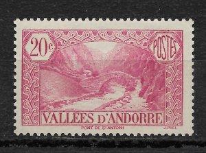 French Andorra 1932, Scott # 29, 20c,VF MNH**OG (FR-1)