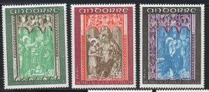 Andorra (Fr) Sc 207-09 1971  Church Frescoes  stamp set mint NH