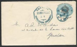 GUATEMALA 1898 used 6c on 5c 1895 Libertad opt envelope....................10880