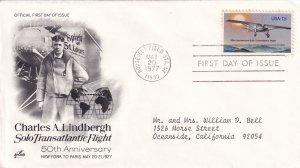 1977, 50th Anniv. Lindbergh Transatlantic Flt., Art Craft, FDC (E11342)