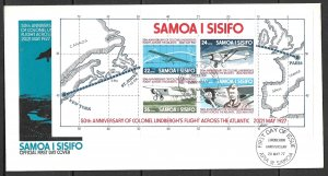 SAMOA 1977 Charles Lindbergh Souvenir Sheet Airplanes Maps Sc 453a FDC