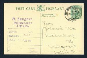 SOUTH WEST AFRICA 1941 Postcard OTJIWARONGO to SWAKOPMUND