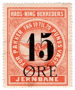 (I.B-CK) Denmark Railway : Hads Jernbane 15 Øre OP