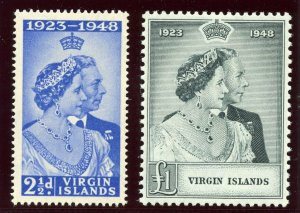 British Virgin Is 1949 KGV Silver Wedding set complete MLH. SG 124-125. Sc 90-91