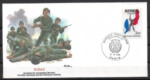 1985 France Sc1976 Return of the Peace dated D-day 42nd Anniversary cover