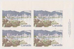 Canada USC #600 Mint 1972 $1 Vancouuver UR Plate 1 Block VF-NH